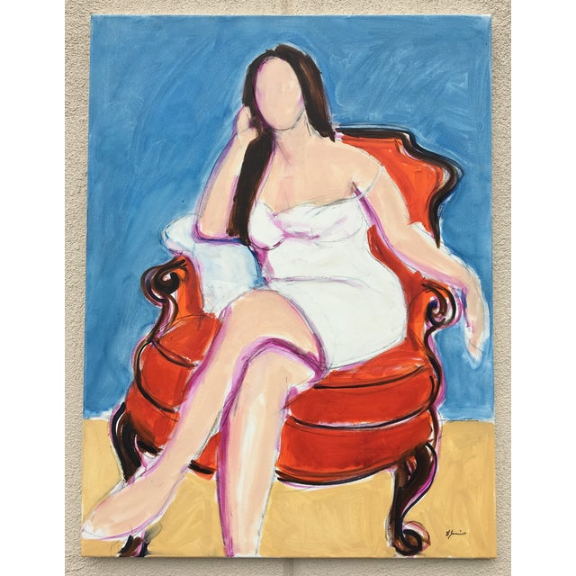 Contemporary Seated Woman II - Oil Painting For Sale - Image 3 of 4