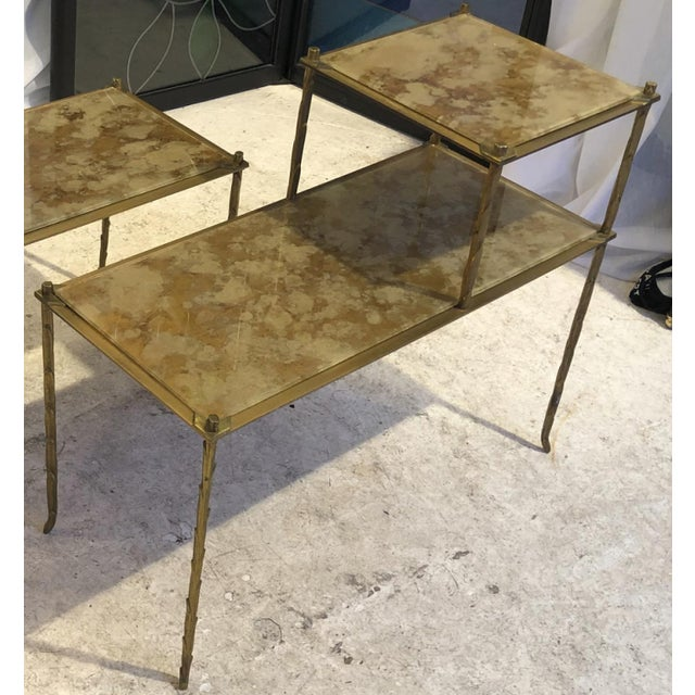 Maison Baguès Maison Bagues Superb Gold Bronze Two Tier Side Tables With Eglomise Mirror Top For Sale - Image 4 of 6