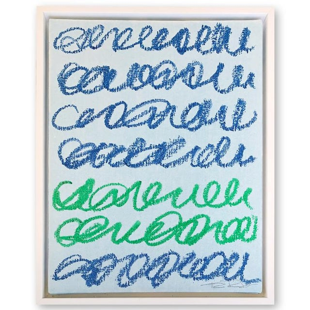 Musings in Blue & Green Contemporary Painting For Sale - Image 4 of 4