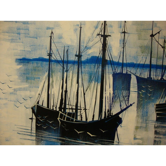 1970s Large Seascape Ships Oil on Canvas Painting - Image 4 of 8