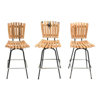Arthur Umanoff Style Swivel Bar Stools - a Set of 3 For Sale