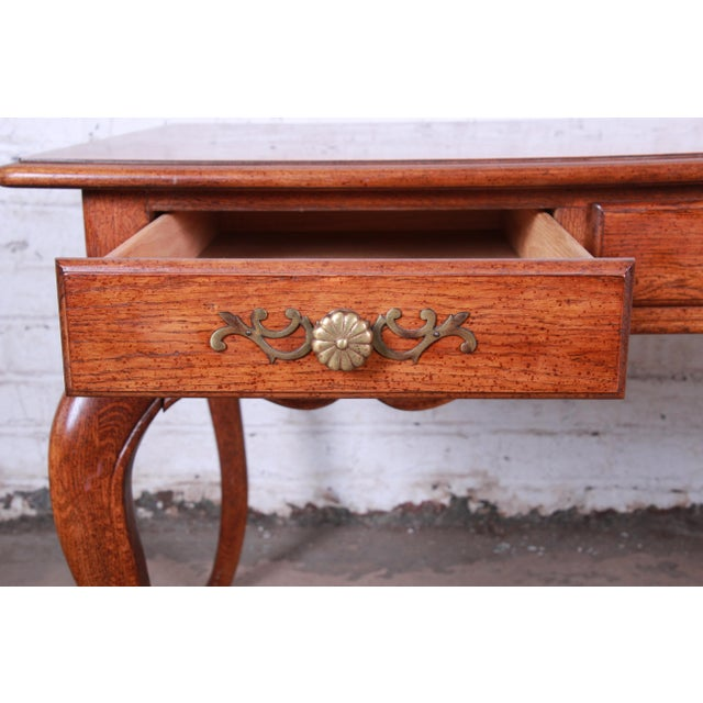 Metal Vintage French Provincial Louis XV Style Oak Writing Desk by Hickory For Sale - Image 7 of 13