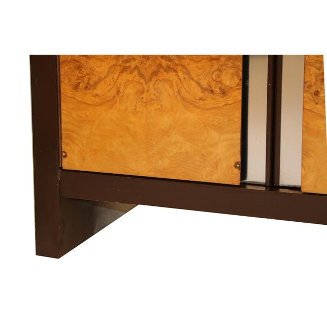 Coffee Pair Mid Century Milo Baughman Style Burl Nightstands Tables For Sale - Image 8 of 11