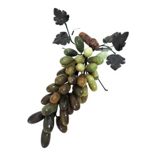 "Vintage Decorative Polished Onyx Italian Grape Cluster on the Vine 12"" For Sale"