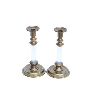 Brass & Lucite Candlestick Holders, a Pair