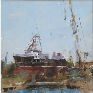 "Beckham Oil Painting ""Ship at Work, Tarpon Springs"", Contemporary Boat Yard Scene For Sale"