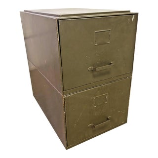 Vintage Industrial Green Metal Stacking File Cabinets - A Pair