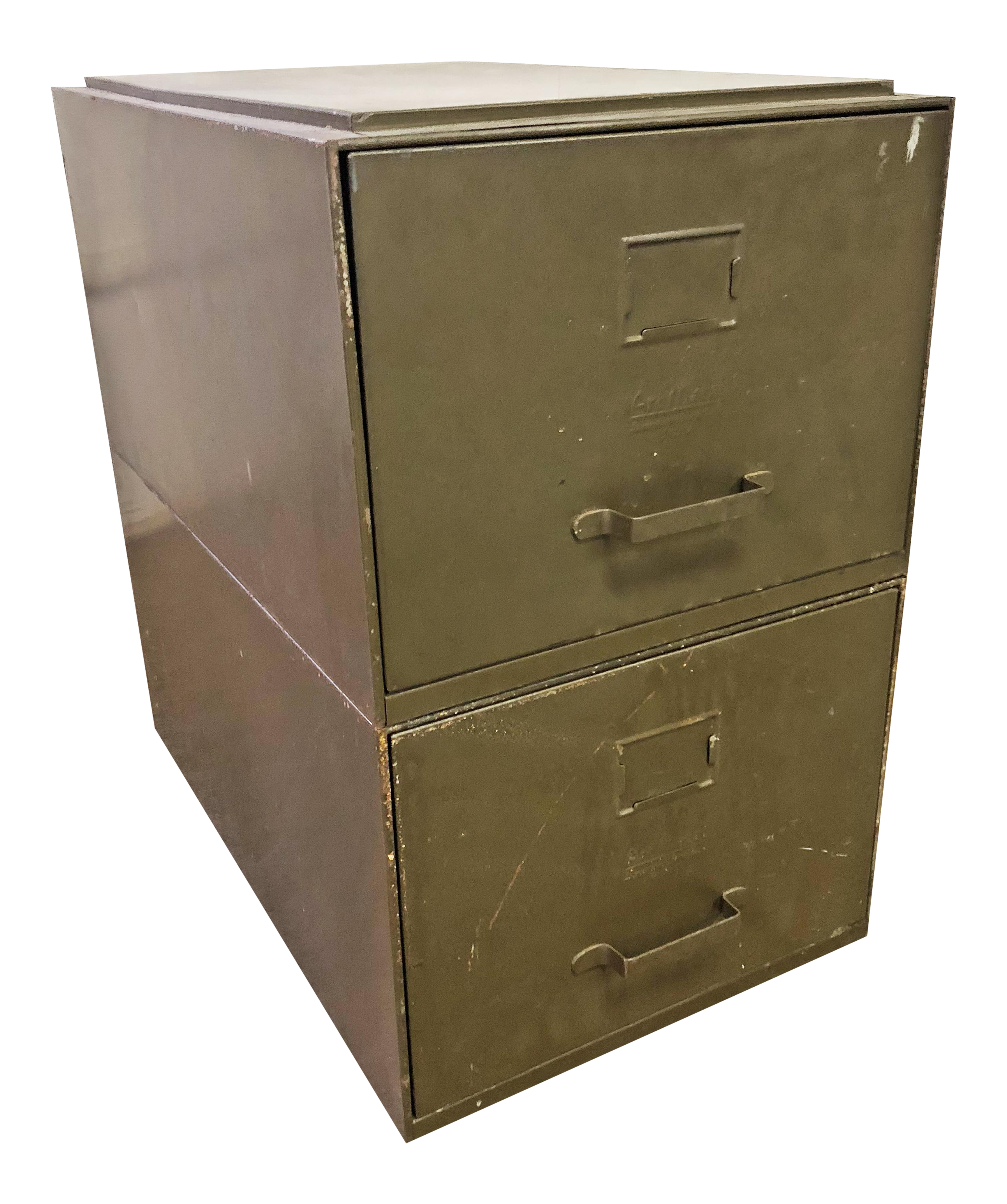 Vintage Industrial Green Metal Stacking File Cabinets   A Pair