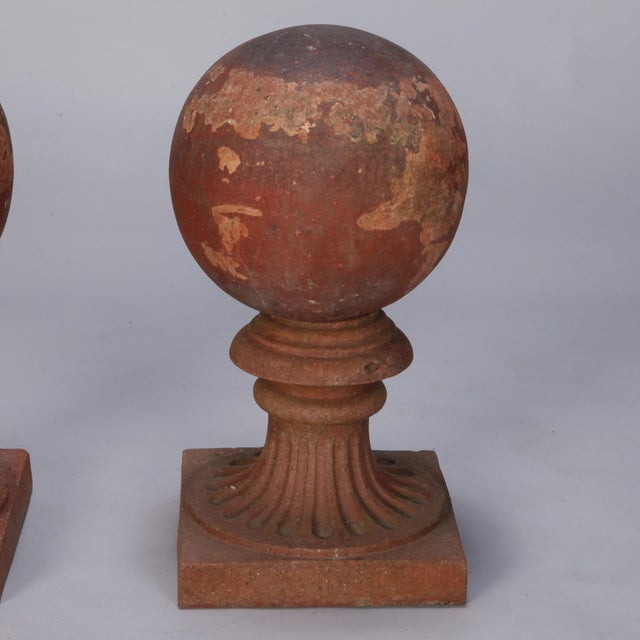 This listing is for a circa 1930s large terra cotta round finial on a pedestal base. Salvaged from an outdoor European...