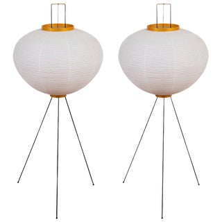 Akari 10a Floor Lamps by Isamu Noguchi - a Pair For Sale