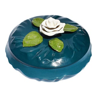 Boho Chic Deep Blue Ceramic Dish With Lid and White Magnolia Flower Topper For Sale