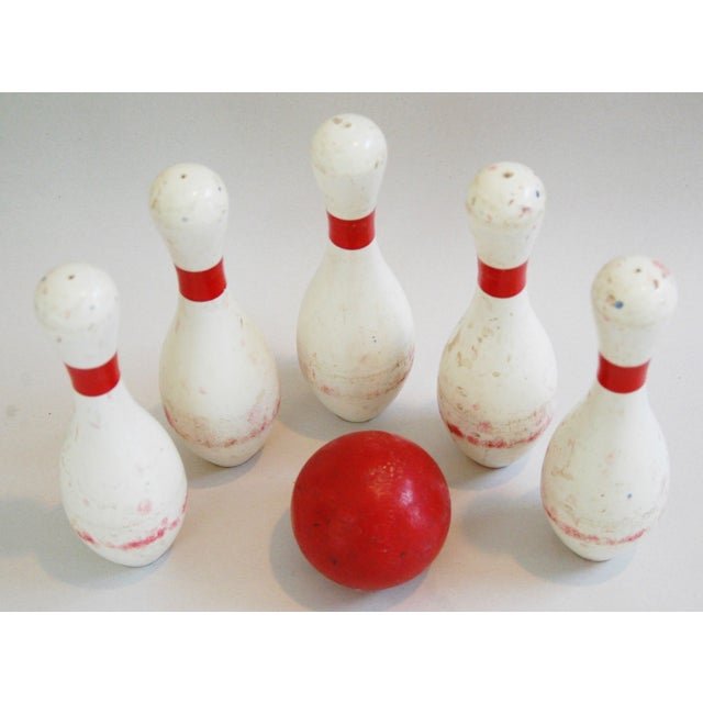 1940s Child's Wood Bowling Pins & Ball - Set of 6 - Image 6 of 10