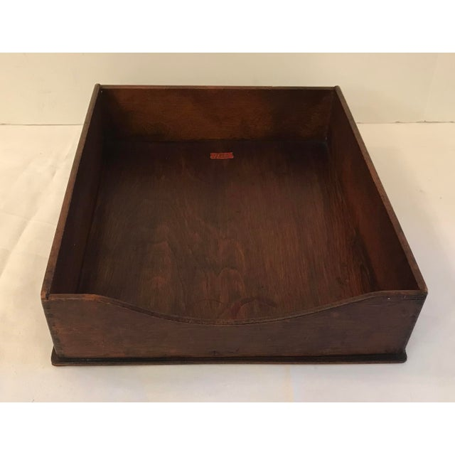 Nice solid wood In/Out box desk tray with dovetail construction by Weis.