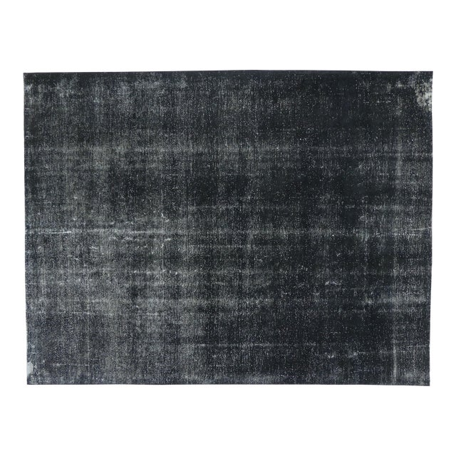 Vintage Turkish Dark Charcoal Rug With Industrial Style - 09'04 X 12'02 For Sale