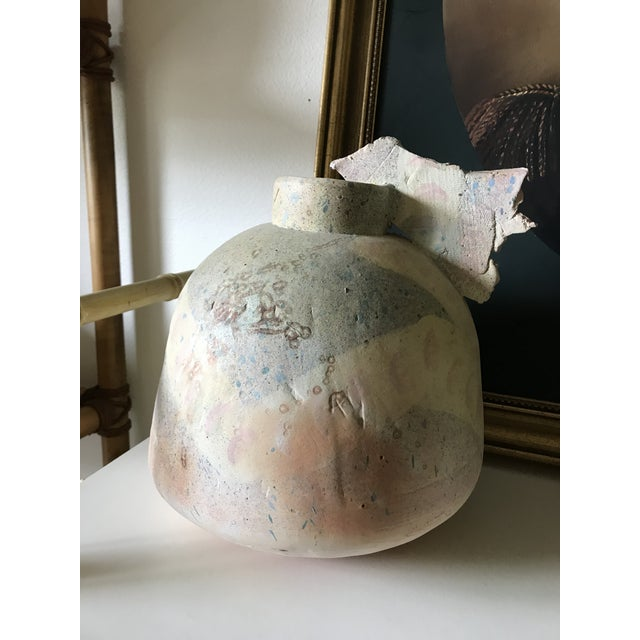 1970s Art Deco Clay Vase Sculpture For Sale - Image 5 of 6