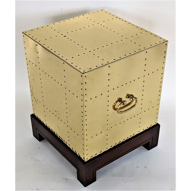 1990s Hollywood Regency Sarreid Brass Studded Cube Side Table For Sale - Image 13 of 13
