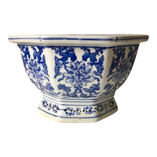 Chinese Octagonal Blue & White Planter/Cachepot For Sale