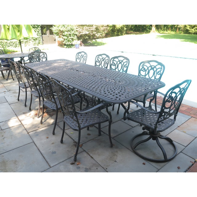 Awesome Darlee Cast Aluminum Table Chair Patio Set Set Of 11 Home Interior And Landscaping Spoatsignezvosmurscom