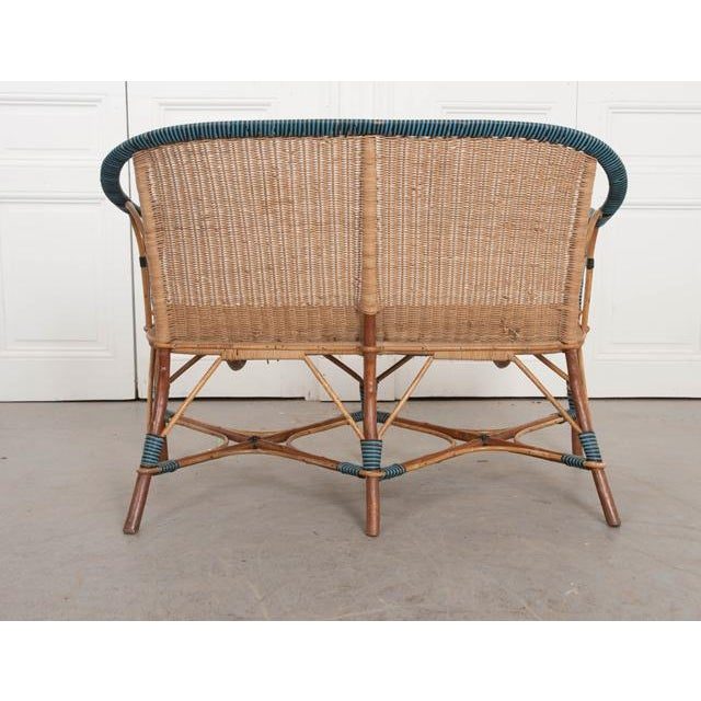 Vintage French Woven-Rattan Settee For Sale - Image 9 of 11