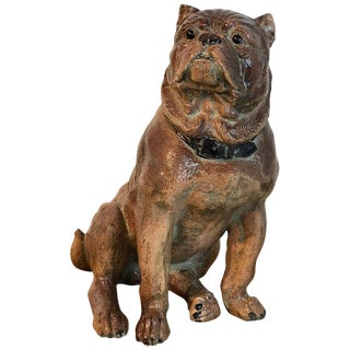 Large Antique English Stoneware Figure of a Seated Pug For Sale