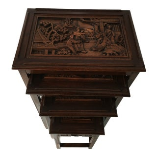 Asian Carved Nesting Tables - Set of 4 For Sale