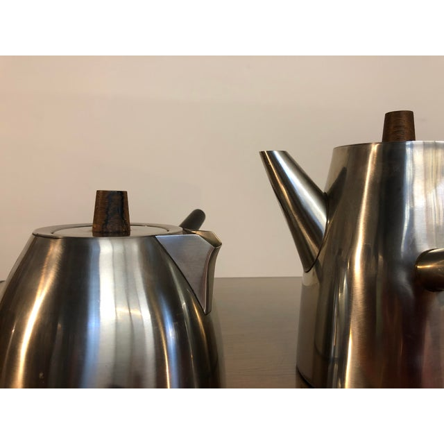 Vintage Danish Stainless and Rosewood Coffee and Tea Set Made in Denmark by Lundtofte For Sale In Seattle - Image 6 of 12