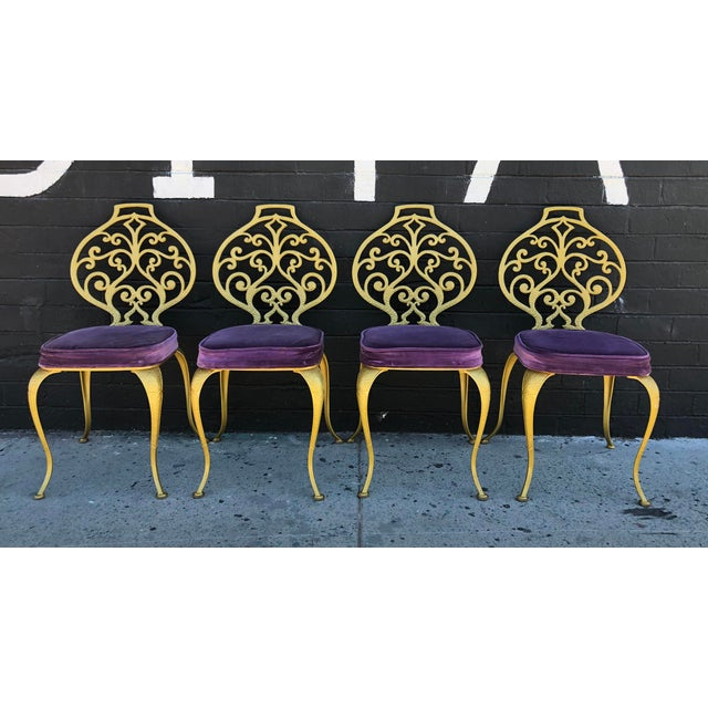 Set of 4 Gold Leafed Thinline Mfg Dining Chairs For Sale - Image 10 of 10