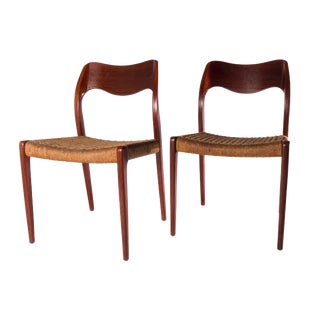 Niels O. Møller for J.J Møllers Møbelfabrik Model 71 Dining Chairs - a Pair For Sale