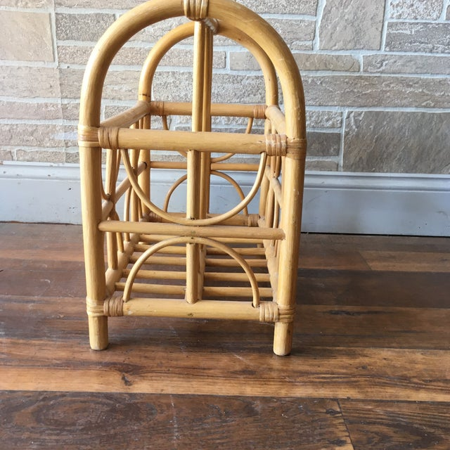 Vintage Bamboo / Rattan Bentwood Divided Magazine Holder For Sale - Image 4 of 7