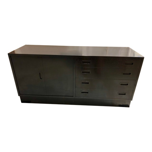 Mid Century Black Lacquered Danish Cabinet For Sale