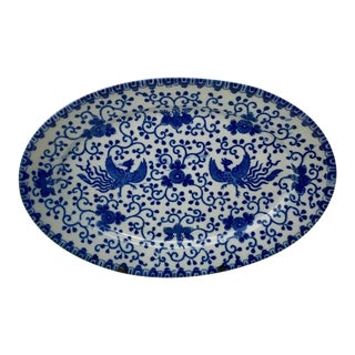 Early 20th Century Blue and White Japanese Phoenix Platter For Sale