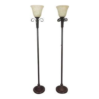Hollywood Regency Faux Wicker Floor Lamps - a Pair