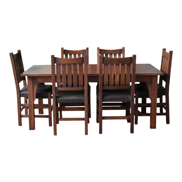 Crafters And Weavers Mission 70 Solid Oak Dining Table Set With 6 240 Chairs 7 Pieces Chairish
