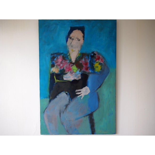 Original Charles Li Hidley Abstract Expressionist Lady Portrait Oil on Canvas Painting For Sale - Image 9 of 9