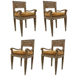 18th C. Italian Silverleafed Armchairs Set of 4 For Sale