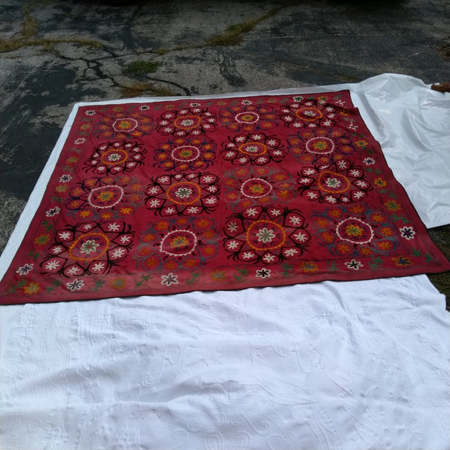 Vintage Uzbekistan Suzani Textile For Sale - Image 4 of 6
