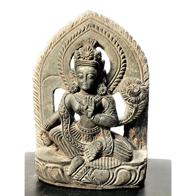 Antique Late Malla Period Nepalese Hand Carved Stone Buddha Bodisattva For Sale - Image 4 of 9