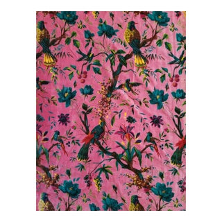 Cotton Chinoiseri Bird Textile, Pink - 13 Yards