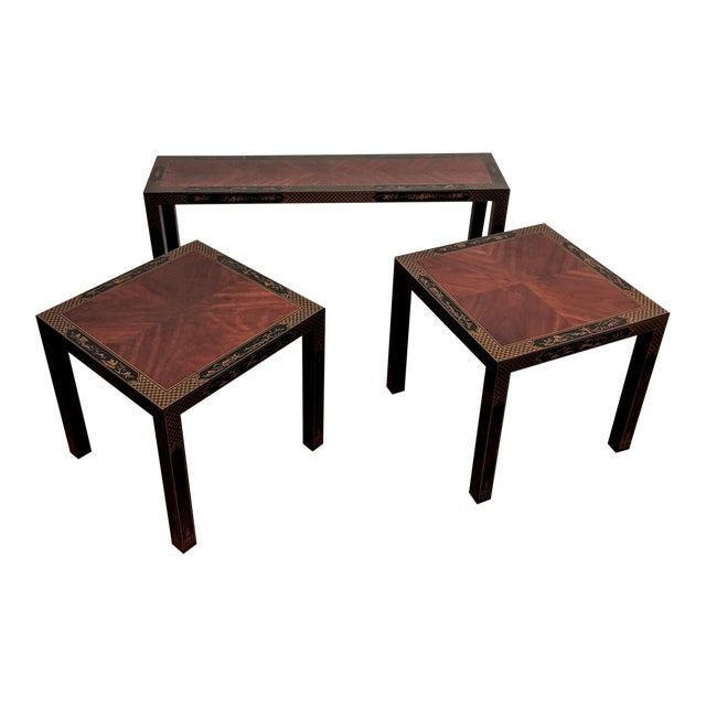 1980s Chinoiserie Console Table & Side Tables, Set of 3 (Drexel - Et Cetera Collection) For Sale