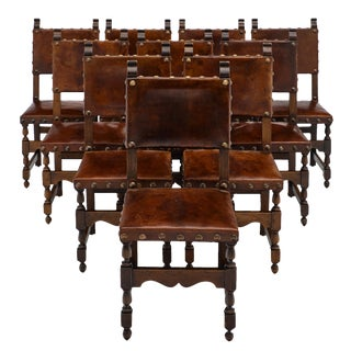 Renaissance Style Leather Dining Chairs - Set of 10 For Sale