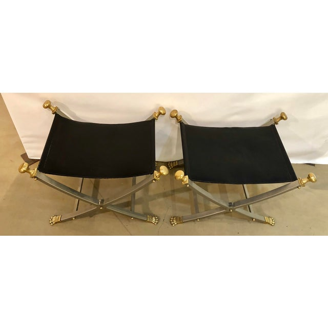Mid-Century Modern Late 20th Century Jansen Style Sling Leather Seat Folding Stools- A Pair For Sale - Image 3 of 9
