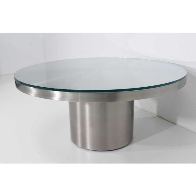 Modern Modern Brueton Brushed Stainless Steel Coffee Table For Sale - Image 3 of 9