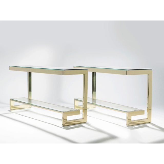 Mid-Century Modern Guy Lefevre Pair of Large Brass Console Tables for Maison Jansen, 1970s For Sale - Image 3 of 11