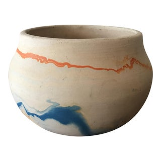 Nemadji Blue Orange Swirl Pottery Bowl