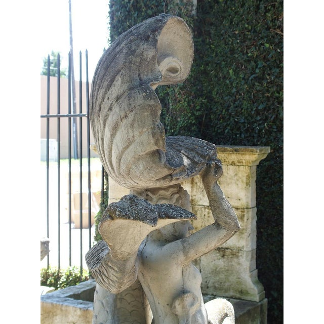 Cast Stone Putto and Dolphin Fountain Element Statue, France For Sale - Image 10 of 13