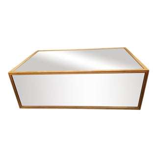 Crawford Mirrored Gold Regency Block Coffee Table For Sale