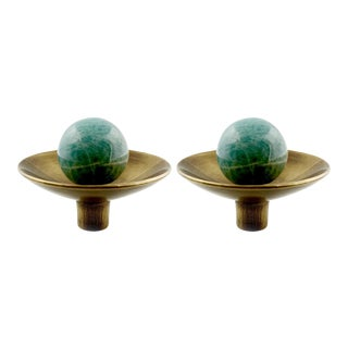 Addison Weeks Gibson Knob, Antique Brass & Amazonite - a Pair For Sale