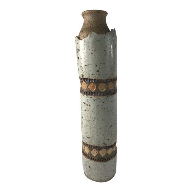 Tall Slender Studio Pottery Vase For Sale