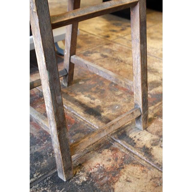 Wood Stool With Hinged Backrest - Image 3 of 4