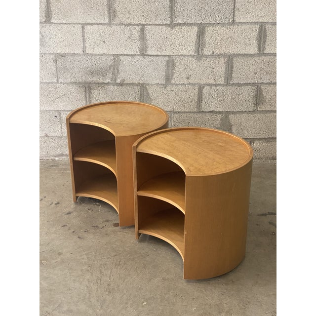 Khaki Vintage Mid-Century Modern Michael Taylor for Baker Curved Nightstands - a Pair For Sale - Image 8 of 9